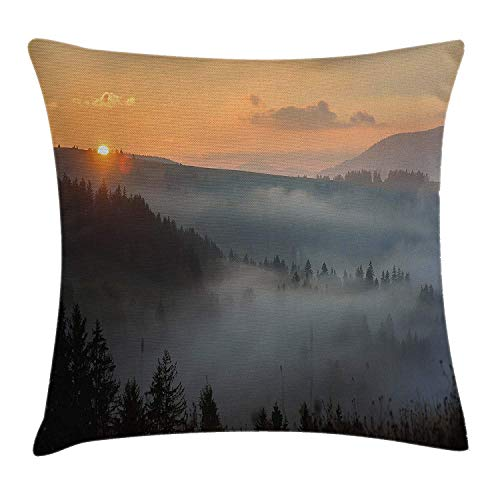 Nature Throw Pillow Cushion Cover, Morning at Foggy Mountain Range Sunrise Pine Tree Forest Dramatic Misty Sky Scenery, Decorative Square Accent Pillow Case, 18 X 18 Inches, Multicolor