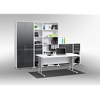 Arbeitszimmer komplett Set MAJA SYSTEM 1200 Büromöbel in Icy weiß ...