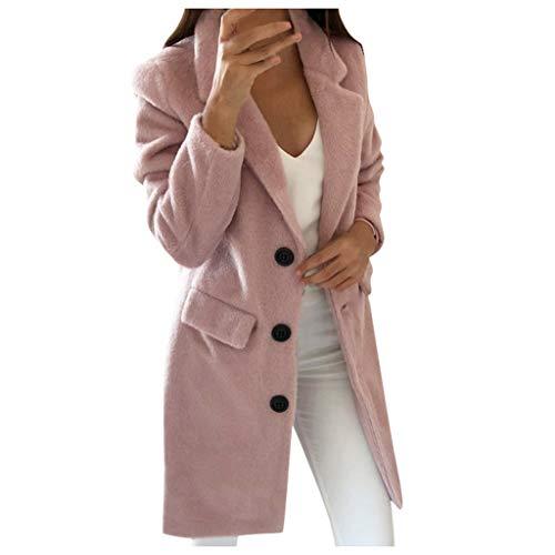 ➤Refill➤ Damen Mantel lang Herbst Winter Jacke Lässige Outwear Parka Cardigan Elegant Simplicity Solid Warm Outwear mit Knopf Revers Künstliche Wollmantel