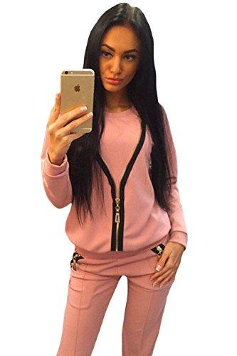 Neue Damen 2Stück Pink Reißverschluss Detail Sweat Suit Trainingsanzug Hose Club Wear Casual Kleidung Größe L UK 12–14EU 40–42 (Stretch-zwei Anzug Stück)