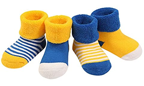 WmcyWell Unisex Baby Newborn Dots Cotton Socks Infant Warm Socks(Pack of 4), 6-12 Months, Thick Yellow