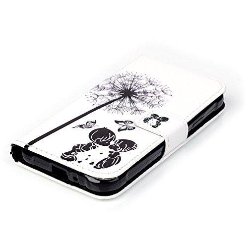 Für Apple iPhone 5C 4 Zoll,Sunrive Magnetisch Schaltfläche Ledertasche Schutzhülle Etui Hülle mit Standfunktion Cover Tasche Case Handyhülle Kartenfächer Kreditkarte Taschen Schalen Handy Tasche Flip  Lovers P