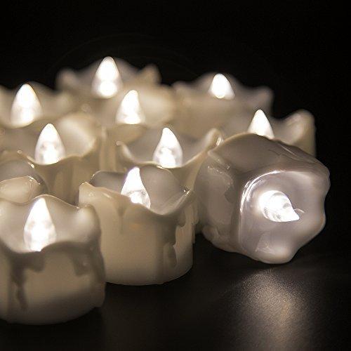 Velitas parpadeantes LED sin llama con batería (sin aroma, 60 horas de duración). Ideal para cumpleaños, bodas, diestas, Halloween y Navidad - Paquete de 12 velitas redondas en blanco