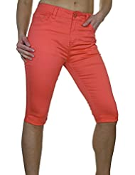 ICE (1479-5) Pantacourt Extensible Corail Type Chinos avec Revers