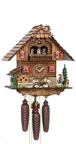German Cuckoo Clock 8-day-movement Chalet-Style 15.00 inch - Authentic black forest cuckoo clock by Hekas by ISDD Cuckoo Clocks