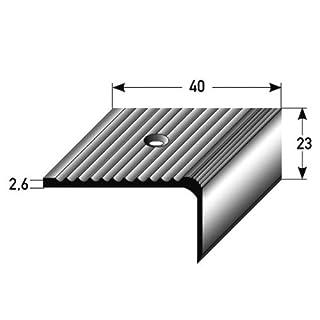 Stair Nosing Profile 50 m (50 x 1 m) 23 x 40 mm Anodized Aluminium / Drilled / Dark Bronze