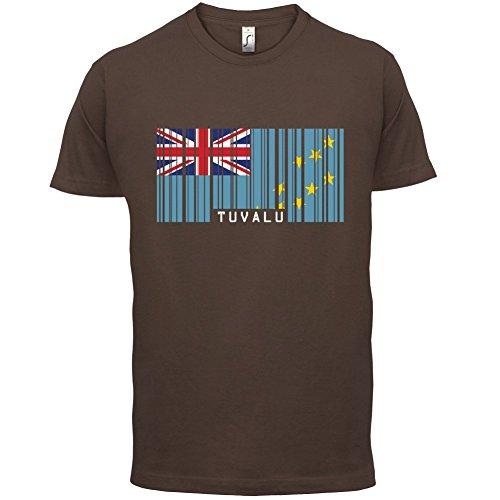 Tuvalu Barcode Flagge - Herren T-Shirt - 13 Farben Schokobraun