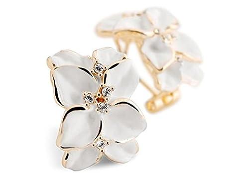 GWG® Boucles D'Oreilles Pour Femmes Plaquées En Or 18K Fleur Vintage Avec Des Feuilles Blanches Embellie de Cristaux Clairs