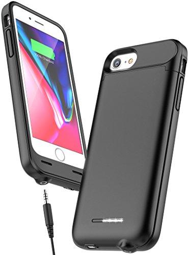 iPhone 8Audiomate Smart Schutzhülle mit Akku 3,5mm Kopfhöreranschluss (3000mAh W/Power Reserve Technologie) glatt schwarz