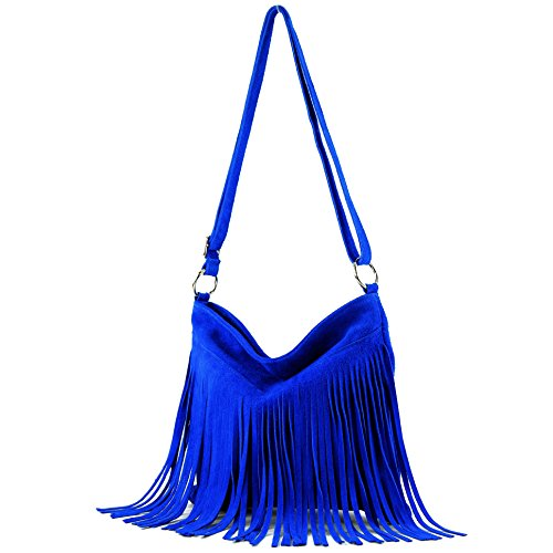 Borsa a mano borsa a tracolla shopping bag donna in vera pelle italiana T02 T145 Royalblau