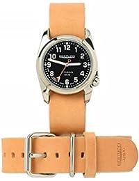 Bertucci h12106Unisex titanio patrimonio marrón cuero banda negro Dial reloj