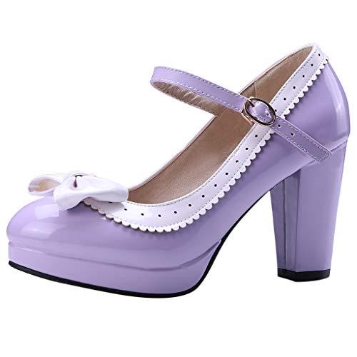 Fenverk Damen Sandalen High Heels Slingback Stiletto Peep Toe Pumps Party Klassische Moderne Mehrfabrige Absaetze Basische Pumpe Spitze Lackleder Kleid-Partei Hochzeit(Lila,35 EU) -
