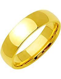 Gemini Dome Comfort Fit 18K Gold Filled Anniversary Wedding Titanium Ring Valentine's Day Gift for Men