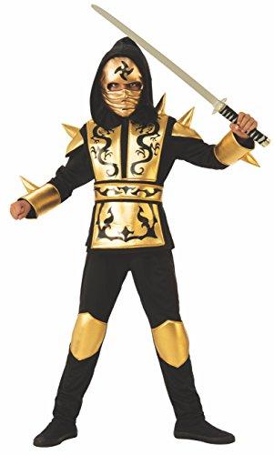Ninjas Kostüm Dragon Gold, Mehrfarbig (Rubies 641143-S) (Dragon Ninja Kostüm Kind)