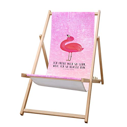 Mr. & Mrs. Panda Liege, Strandliege, Gartenliege Flamingo stolz mit Spruch - Farbe Aquarell Pink