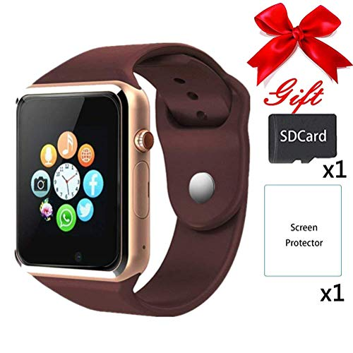 Smart Watches,bluetooth Smartwatch Unlocked Watch Phone Call and Text with Touchscreen Camera Notification Sync Compatible with Android and IOS Phone(App Unavailable) (Gold)