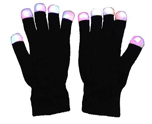 23,5 Cm × 12,2 Cm, LED Bunte Blinkende Fingerbeleuchtung Rave Handschuhe - Halloween Geschenk, 7 Farben Bunte Handschuhe, Schwarz