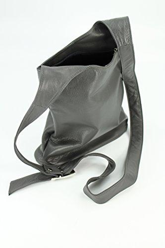 BELLI ital. Umhängetasche Cross Over Bag Damen Ledertasche Handtasche - Farbauswahl - 24x28x8 cm (B x H x T) Grau