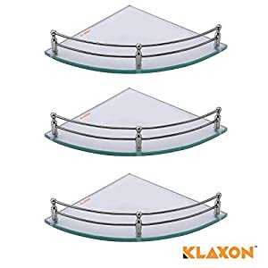 Klaxon Glass Corner Shelf (Glossy, Pack of 3)