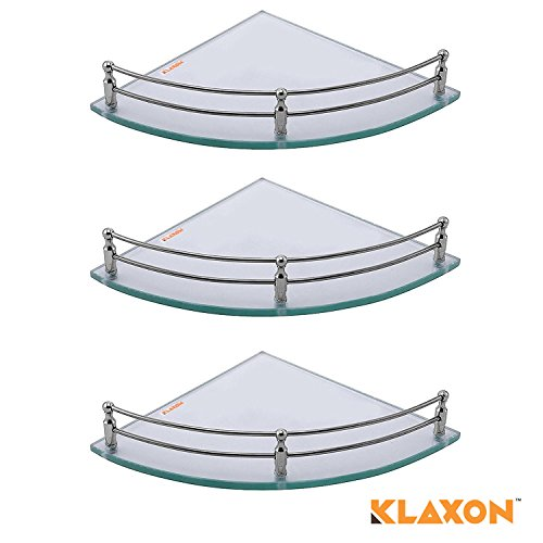 Klaxon Glass Corner Shelf (Pack of 3, Glossy)