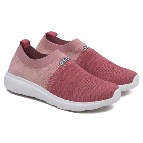 ASIAN Women's Elasto-02 Peach Pink Knitted Socks Sneakers,Ultra-Lightweight, Breathable, Walking, Running Running Shoes Fabric Sports Shoes UK-6