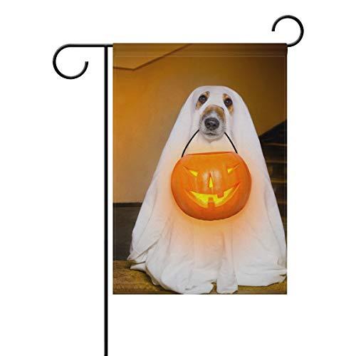 SUNOP Bandera de jardín de poliéster para Halloween, Fantasma, Perro o Trampa, Pancarta de 30,48 x 45,72 cm, para decoración de macetas de jardín al Aire Libre