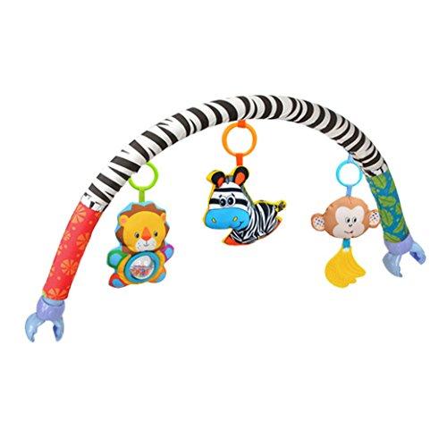 Amazemarket bébé enfant enfants jouet en peluche douce Poussette Clip Lit de berceau Landau à suspendre les animaux Zebra Lion Singe Arch Squeak/Hochet/anneau de dentition