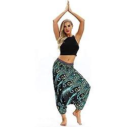 Feytuo Pantalon Femme Boho Harem Floral Imprimer Élastiqué Taille, Pantalon Yoga Sport Chic Mode Vintage Pantalon Plage Taille Haute Loose Grande Taille Taille élastique Dentelle Combinaison Pratique