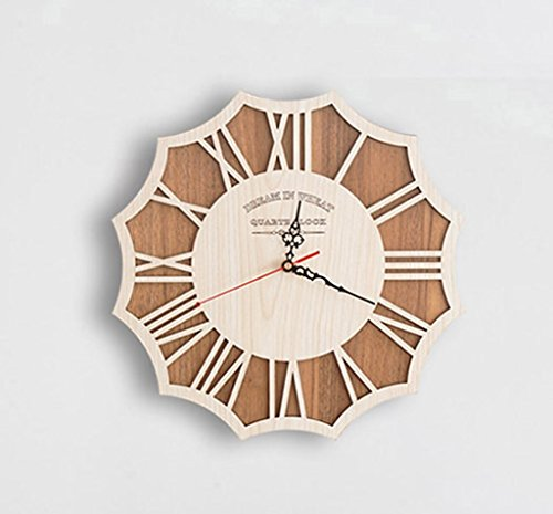 Sunjun Große Wohnzimmer Wanduhr Clock Creative Arts Gedämpfte Persönlichkeit Retro moderne Art-hölzerne Wall Chart Mode ( größe : M ) -