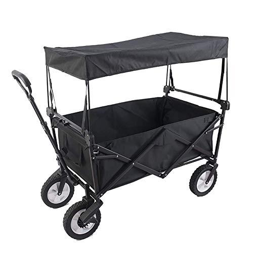 Xyfw Black Faltbarer Bollerwagen grau | UV-Schutzdach,Schubbügel,Bremsen,Crossprofilräder | 80kg Tragkraft | Handwagen,Transportwagen Mit Heckrahmen