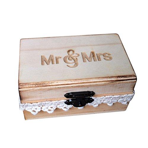 TOPBATHY Holz Ring Box Vintage Rustikale Mr Mrs Spitze Hochzeit Ring Box Verlobungsring Schmuckschatulle für Verlobung Heiratsantrag