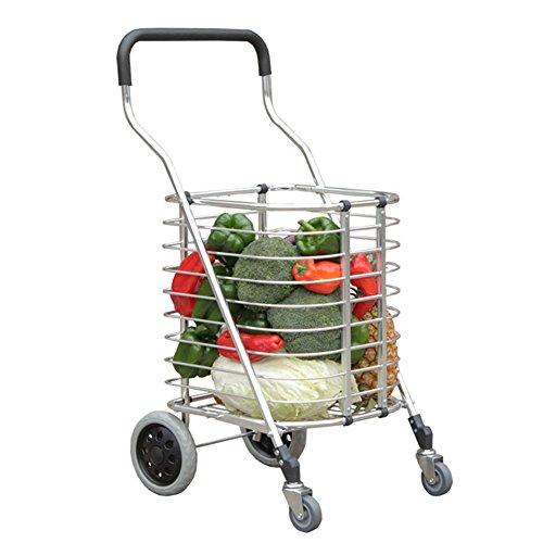 Preisvergleich Produktbild RFJJAL Leichte Einkaufslaufkatze mit 4 Rädern mit dem Deckel,  faltenden kleinen Warenkorb-Anhänger,  Aluminiumlegierungs-Korb-Auto (Farbe : Silver White- Without Cover)