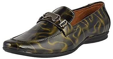LeeGraim Men's Black and Green Loafers - 10 UK, LEEGRI0032-10