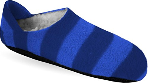 Damen und Herren Hausschuhe mit ABS Aufdruck Jeans/Blau