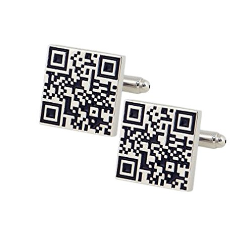 Ss QR Code Silver & Balck Copper Cufflinks For Men SS69  available at amazon for Rs.699