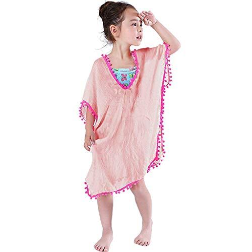 Tyoby Baby Kleinkind Kinder Baby Mädchen Vertuschungen Badeanzug Wraps Strandkleid Tops Pompon Quaste(Wassermelonenrot,S) (Badeanzug Kinder Carters)