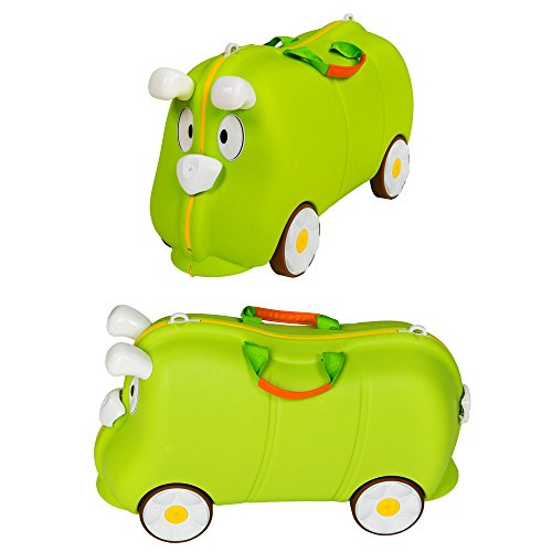 Image of TecTake Ride on suitcase hand luggage on rubber wheels for children kids green