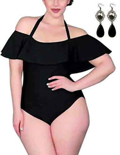 Sitengle Donna Costumi interi Taglie Grandi Velluto Costume da Bagno Intero Spalla di Parola Halterneck (Billabong Ragazze Bikini Top)
