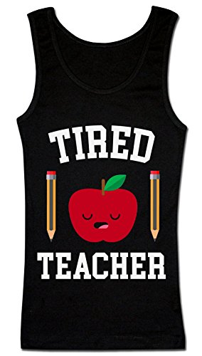 Finest Prints Tired Teacher Sleepy Apple With Pencils Women's Tank Top Shirt