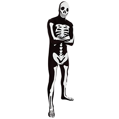Morphsuits - Costume intero aderente per travestimento da scheletro, Adulto, taglia: M (161cm), colore: Nero