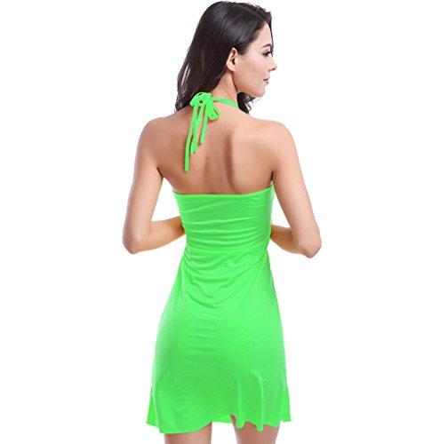 UDreamTime Womens reizvolle Halter-Bügel-Bademode-Strand-Kleid Grün