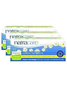 PACK OF 3 Natracare Organic Tampons Regular