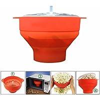 Gearmax Plegable Bowl con tapa,recipiente para cocinar palomitas en microondas,fácil y fresco Prepara,con tapa y asas cómodas y resistentes