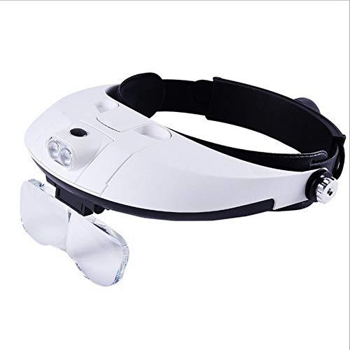 Fangfang GAO magnifier Hands Free Head Lupe, Uhren Handwerk Schnitzen Reparatur Schmuckschätzung Lesebrille mit 4 auswechselbaren HD-Linsen 1x 1.5X 2X 2.5X 3.5X LED beleuchtet reparierende Lupen