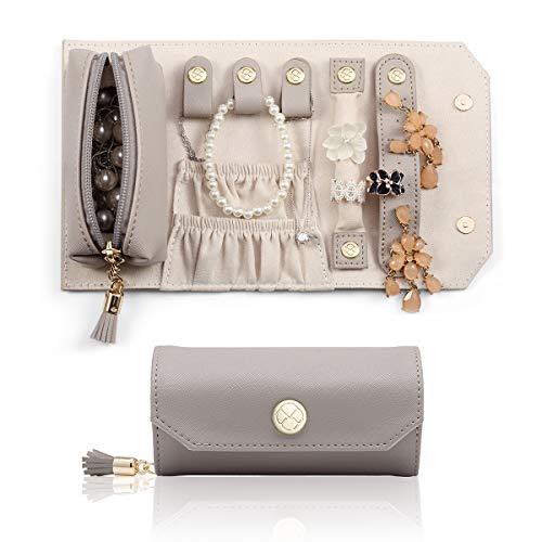 Vlando Schmuckroll Schmuck-Organizer Rolltasche für Reisen, Mini-tragbare Größe und leichtes Gewicht für Schmuck für Ringe, Ohrringe, Halsketten, Lippenstift (Grau)