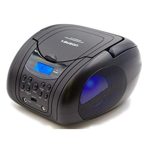 LAUSON CP455 CD-Player mit USB | Radio | Mp3 | Boombox Tragbarer | Kinder Radio mit LED-Beleuchtung | Stereoanlage (Schwarz)