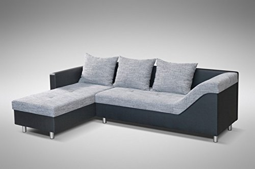 Sofa Couch Ecksofa Eckcouch Sofagarnitur in schwarz / hellgrau – Lissabon 1- L