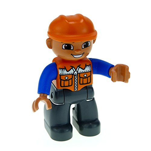 1 x Lego Duplo Figur Mann Bauarbeiter Hose dunkel grau Jacke orange blau Augen braun Helm orange Baustelle 47394pb156 (Bauarbeiter Figuren)