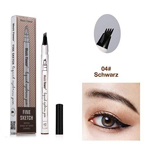 Augenbrauenstift Wasserfest - WaterproofMicrobladingPen mit Tips Wasserfester Langenhaltend für Natürlich Augenbrauen Schminke (Schwarz)