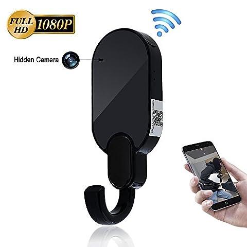 Camera Espion Spy Cam WIFI TANGMI 1080P HD Caméra Cachée Crochet de Vêtements Intérieur Détection de Mouvement Caméra de Sécurité Caméscope Surveillance P2P IP Voir